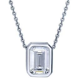 Emerald Cut Cubic Zirconia Sterling Silver Solitaire Necklace