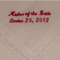 """Mother of The Bride"" Personalized Hanky"