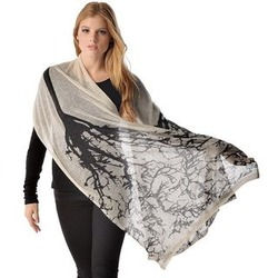 Pure Cashmere Knitted Shawl in Tree Print
