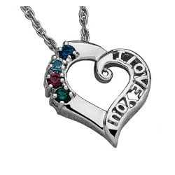 I Love You Family Birthstone Pendant
