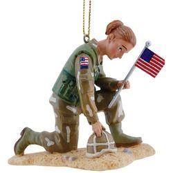 Caucasian Female Soldier Ornament