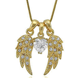 Angel Wings with Heart Cluster Necklace