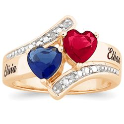 Couples Birthstone Hearts Ring