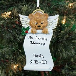 Personalized Angel Bear Memorial Ornament