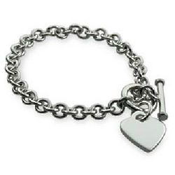 Tiffany Style Silver Heart Tag Bracelet