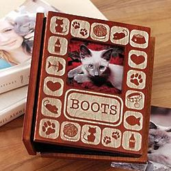 Personalized Pet Cat Burn-Out Wood Album