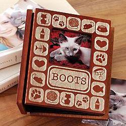 Personalized Pet Cat Burn-Out Wood Album