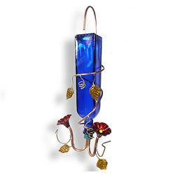 Blue Bottle & Copper Hummingbird Feeder