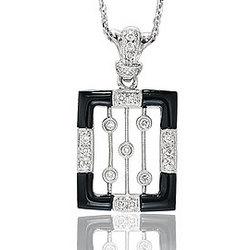 14K Diamond Onyx Pave Bezel Deco Style Pendant