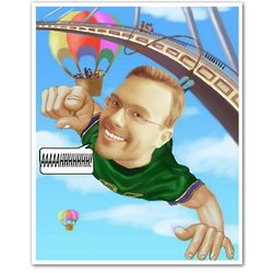 Bungee Jumping Caricature from Photo Print