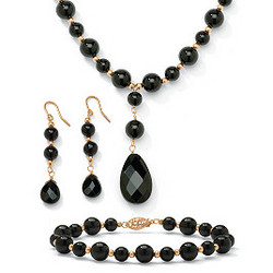 3-Piece Onyx 10k Gold Beaded Set