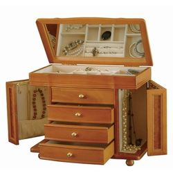 Large Oak Jewelry Box Chest