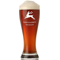 Personalized Reindeer Grand Pilsner Glass