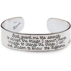 Sterling Silver Serenity Prayer Cuff Bracelet