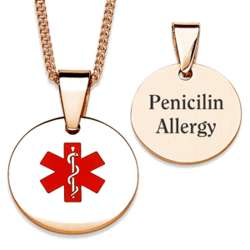 Medical Alert ID Necklace in Gold Plated Stainless Steel