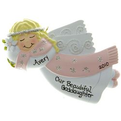 Goddaughter Angel in Pink Scarf Ornament