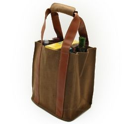 Collapsible 4 Bottle Wine Tote in Cocoa Brown
