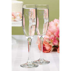 Linked Heart Bride and Groom Flutes