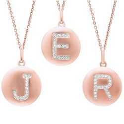 Rose Gold Plated Diamond Initial Necklace