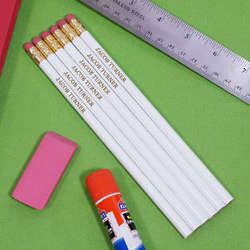 Engraved White School Pencils