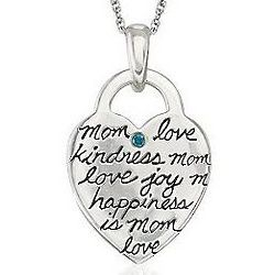 Mom Heart Necklace with Blue Diamond