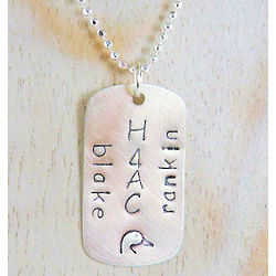 Dog Tag Style Personalized Hand Stamped Memorial Necklace