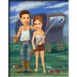 Redneck Couple Custom Caricature Art Print