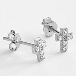 White Gold-Plated CZ Cross Earrings