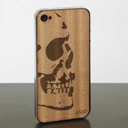 Skull iPhone 4 or iPhone 4s Wood Cell Phone Skin