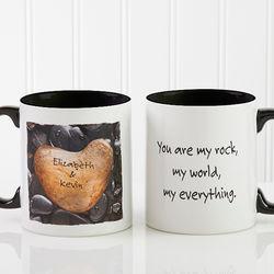 Personalized Heart Rock Coffee Mug with Black Handle