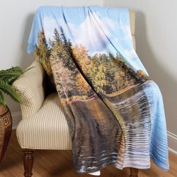 Relaxing Lake Scene Throw Blanket