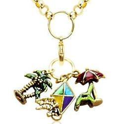Summer Fun in the Sun Charm Necklace in Gold Tone