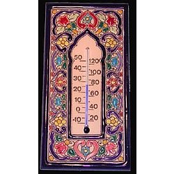 Handmade Ceramic Tile Thermometer with Enamels