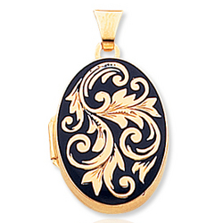 14k Yellow Gold Blue Enamel Oval Locket