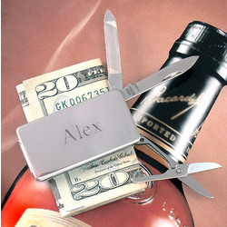 Silver Pocket Knife Money Clip