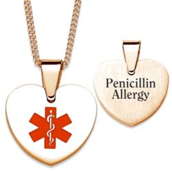Gold Stainless Steel Engraved Medical Alert ID Heart Necklace