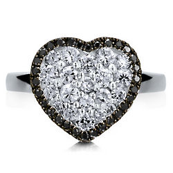 Sterling Silver Cubic Zirconia Flat Heart Ring
