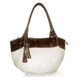 White and Brown Croc Trimmed Satchel Bag