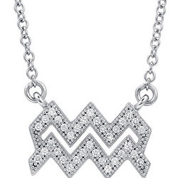 Aquarius Cubic Zirconia Sterling Silver Necklace