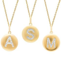Yellow Gold Over Sterling Silver Diamond Initial Necklace
