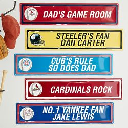 Personalized NFL or MLB Metal Room Sign
