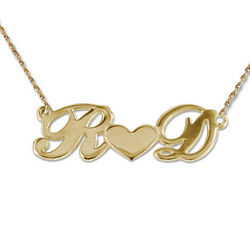 Personalized 14 Karat Gold Couple's Heart Necklace