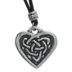 Celtic Heart Leather Necklace