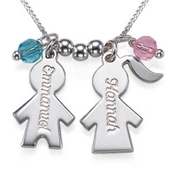 Engraved Kid Charms Necklace with Birthstones