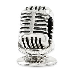 Silver Microphone Charm Bead