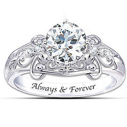 Happily Ever After White Topaz Engraved Ring