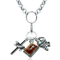 Christian Cross and Bible Charm Necklace in Silver