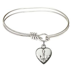 Youth's Rhodium-Plated Bangle with Confirmation Heart Charm