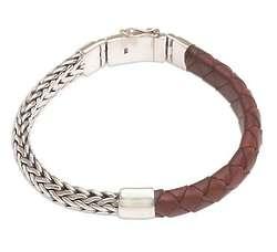 Men's Halfway Home Sterling Silver and Leather Bracelet