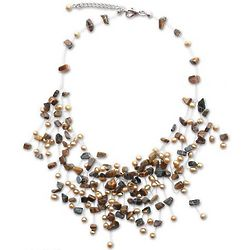 Golden Cloudfall Pearl and Tiger's Eye Choker